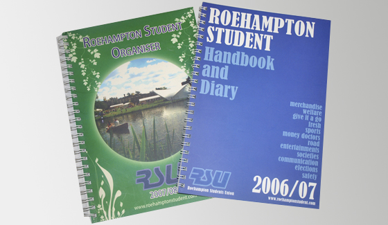 Student diaries and handbooks produced for Roehampton Students' Uinion