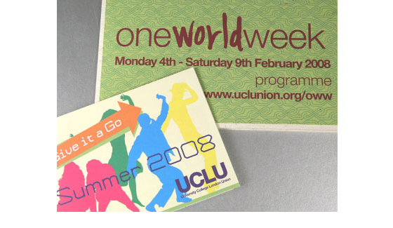 We printed leaflets and programmes for UCLU's 'One World Week' event