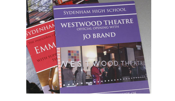 Printing of theatre programmes for the opening of Sydenham High School's Westwood Theatre