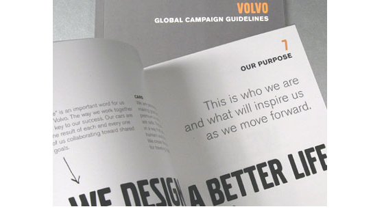 Printing of Volvo's Global Campaign guidelines booklet